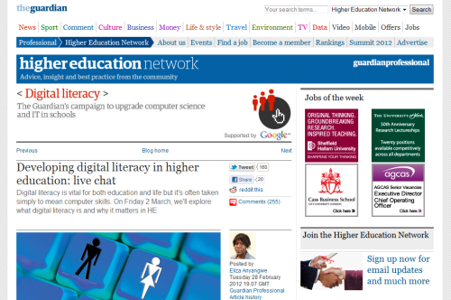 Guardian live chat - Developing Digital Literacies in Higher Education