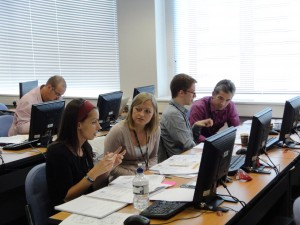 Delegates worked in pairs on the Educhallenge computer simulation